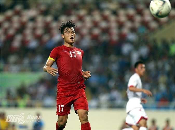 Mạc Hồng Quân mở tỷ số cho đội tuyển Việt Nam không lâu sau khi vào sân. (Ảnh: Quang Minh)
