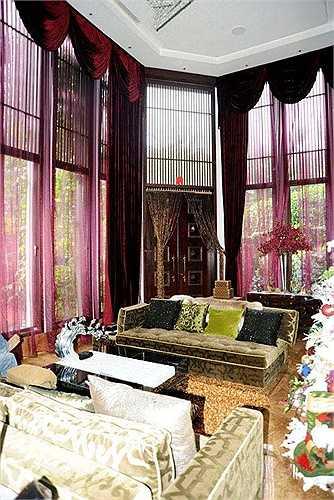Phòng khách được thiết kế khá lạ mắt với những vật dụng độc và đắt đỏ.
