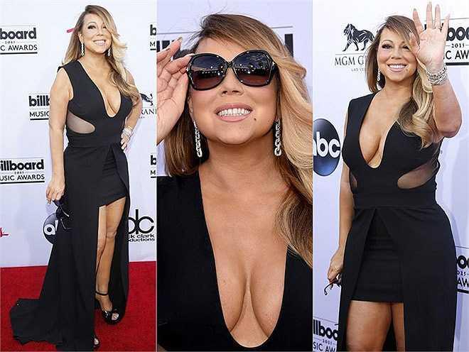 Mariah Carey diện váy đen khoét ngực.