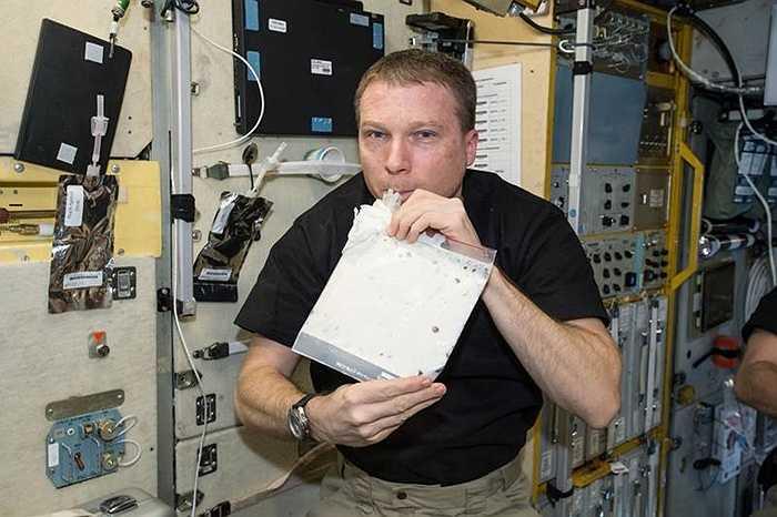 Một phi hành gia trên tàu vũ trụ đang uống sữa sau khi rã đông. Trong môi trường không trọng lực, sữa cũng phải đựng ở chiếc túi đặc biệt