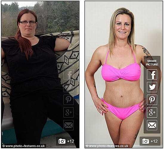 Natalie Davis (35 tuổi) sống tại Manchester (Anh) từng nặng hơn 100kg nhưng nhờ tập thể dục và tuân thủ chế độ ăn kiêng, cô đã giảm được 44kg sau 7 tháng.
