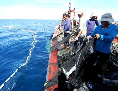 Ngư dân Quảng Ngãi đánh bắt cá trên biển. Ảnh: VNE