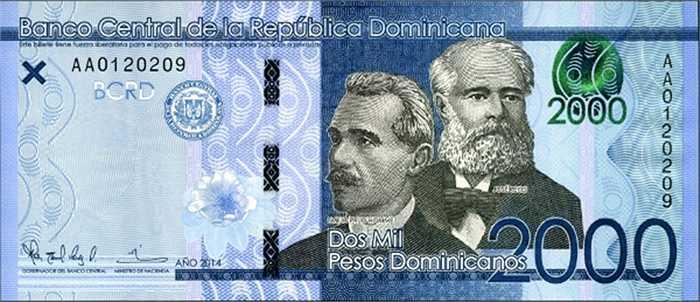 Tờ 2.000 pesos của Cộng hòa Dominican.