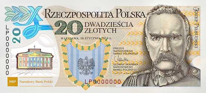Tờ 20 zlotych của Ba Lan.