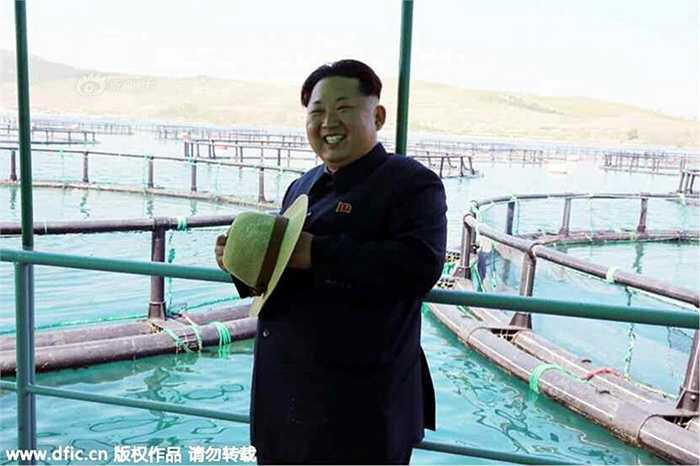 Ông Kim tươi cười khi đứng bên các bể nuôi cá