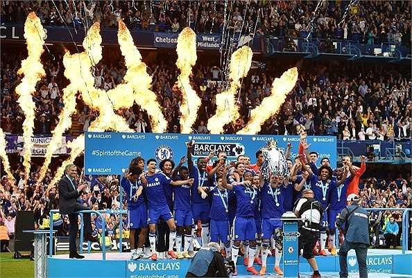 Chelsea ăn mừng chức vô địch Ngoại hạng Anh mùa bóng 2014-2015.