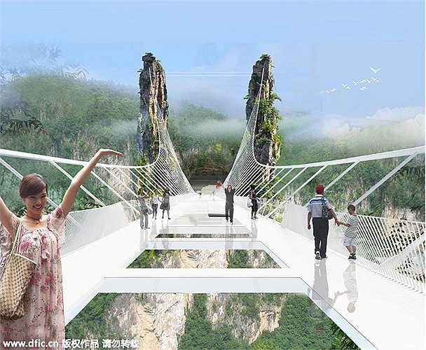Cho tới lúc hoàn thiện, đây sẽ là cây cầu kính dài nhất và cao nhất thế giới, được xây dựng hoàn toàn không dùng tới bất cứ loại bê tông trợ lực nào.