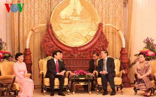Chủ tịch nước Trương Tấn Sang và Tổng Bí thư, Chủ tịch Lào trong chuyến thăm, làm việc tại Lào tháng 3/2015 - Ảnh: VOV