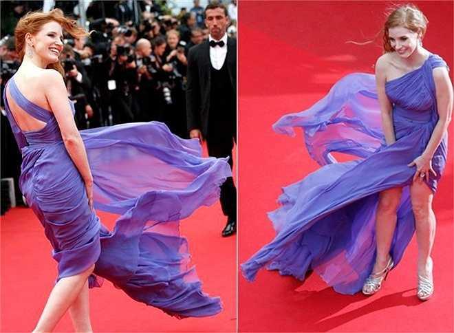 Là một thành phố biển nên Cannes thường xuyên làm khó các sao nữ. Chất liệu vải quá mềm mại của bộ đầm lệch vai gợi cảm đã làm nữ diễn viên Jessica Chastain vất vả chống chọi với những cơn gió tại liên hoan phim Cannes 2014.