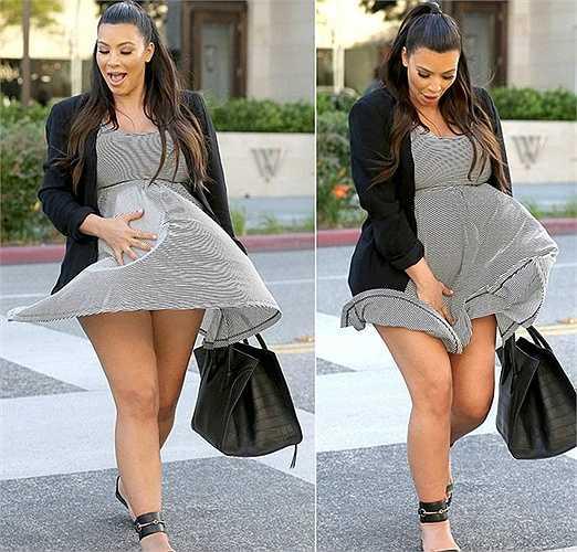 Tháng 5/2013, chiếc váy của Kim Kardashian trở thành trò đùa của một cơn gió trên đường phố Los Angeles (Mỹ) khiến bà bầu nóng bỏng được phen thót tim.
