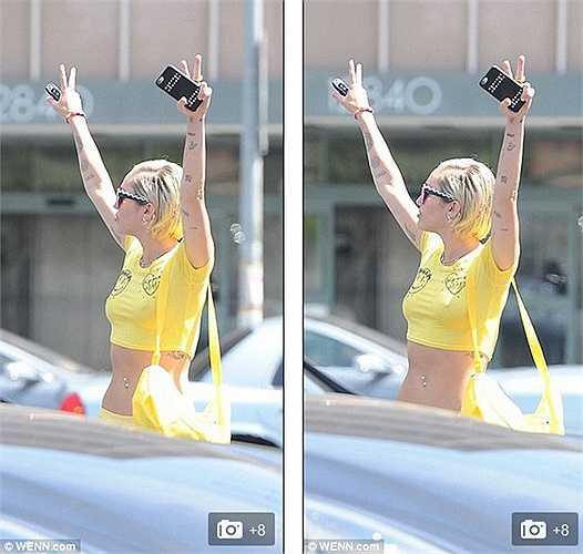 Miley Cyrus thường xuyên ra ngoài mà không mặc áo chip.
