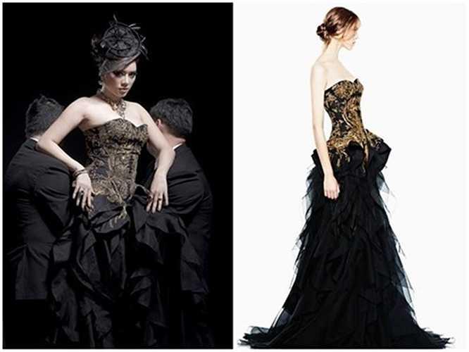 Bộ váy nhung đen Alexander Mc Queen, có giá 600 triệu đồng của cô.