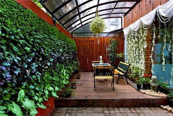 Tường cây xanh trong nhà cũng là cách 'chuẩn' để giảm nhiệt, nhất là với phía tường thường bị ánh nắng hun nóng. Tuy nhiên, cách thi công này cần chú ý đến các khâu chống thấm, việc chăm sóc cây xanh thuận tiện cho gia chủ.