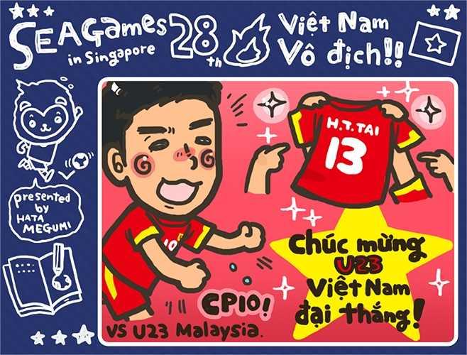 Đây là hình ảnh Công Phượng trong màn ăn mừng  vì Tấn Tài ở trận thắng 5-1 U23 Malaysia.