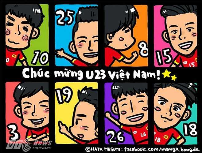 Còn đây là dàn sao U23 Việt Nam trong mắt Megumi.