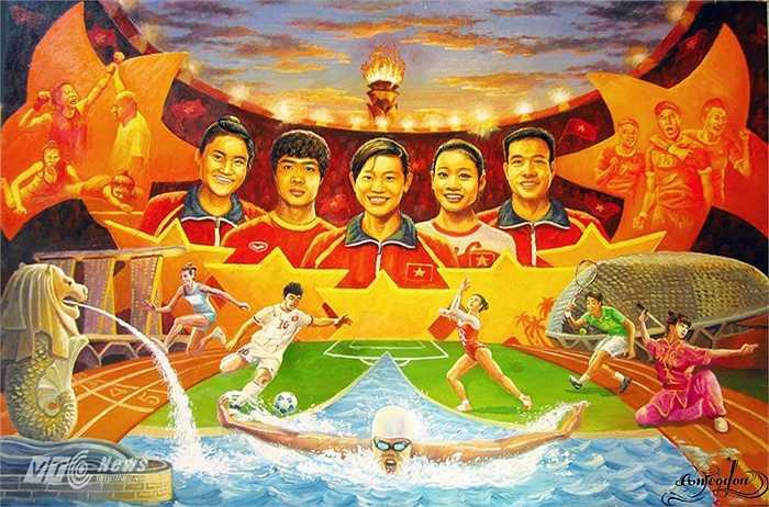 Một bức họa khác của họa sĩ An Thắng dành cho đoàn Thể thao Việt Nam dự SEA Games 28.