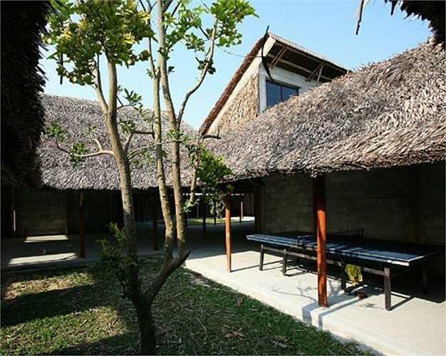 Cây xanh được trồng xen kẽ vào các không gian trong nhà để tạo bóng mát.