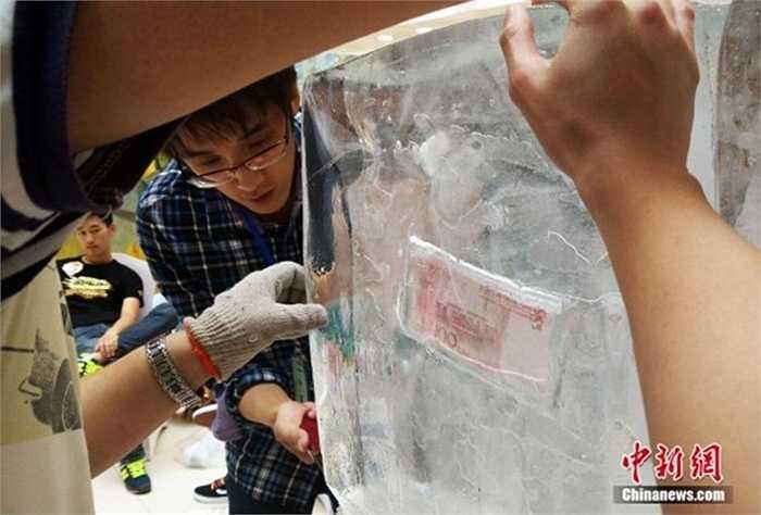 Các tờ tiền được đông đá nằm giữa, sâu trong lớp băng dày vài cm
