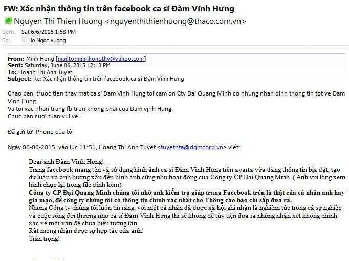 Thư xác nhận facebook của Đàm Vĩnh Hưng bị mạo danh