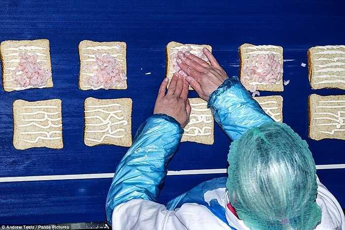 Một công nhân đang dùng tay ấn thịt vào sốt mayonaise trên lát bánh mỳ. Hẳn là khi nhìn vào những hình ảnh này, người ăn bánh mỳ sẽ phải suy nghĩ lại