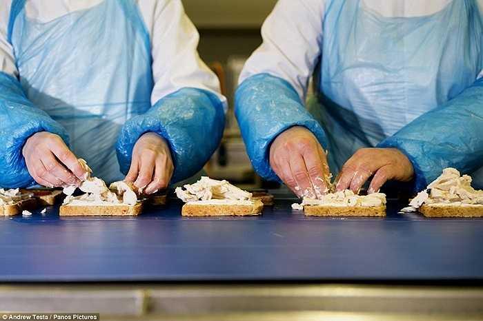 Nhân viên thao tác bằng tay với sốt mayonaise, bánh mỳ và các nguyên liệu dù bên ngoài cơ thể có mặc quần áo bảo hộ