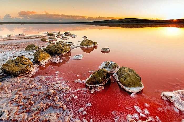 Những hòn đá cũng biến đổi vàng, xanh lam trên nền nước đỏ ửng