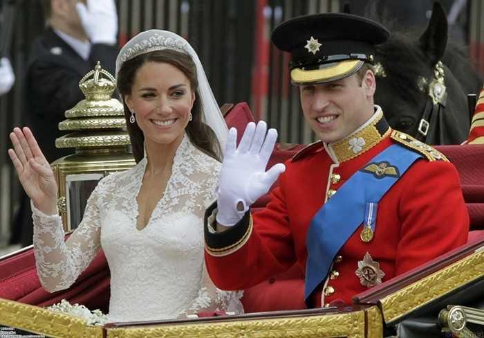4. Hoàng tử William và Kate Middleton – 34 triệu USD. Hôn lễ được truyền hình với khoảng 2 tỷ người xem từ khắp nơi trên thế giới.  Tổng cộng đã có gần 3000 người được mời tới tham dự buổi lễ.