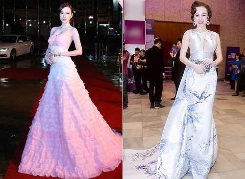 Bộ váy họa tiết Hạc, Rồng lấy cảm hứng từ gốm sứ Việt Nam của NTK Lê Thanh Hòa (ảnh phải)