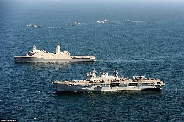 Chiến hạm các nước trong đội hình diễn tập