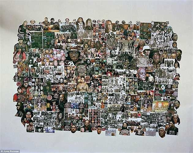 Chân dung các thành viên Mongrel Mob được sắp xếp thành một tấm ảnh lớn