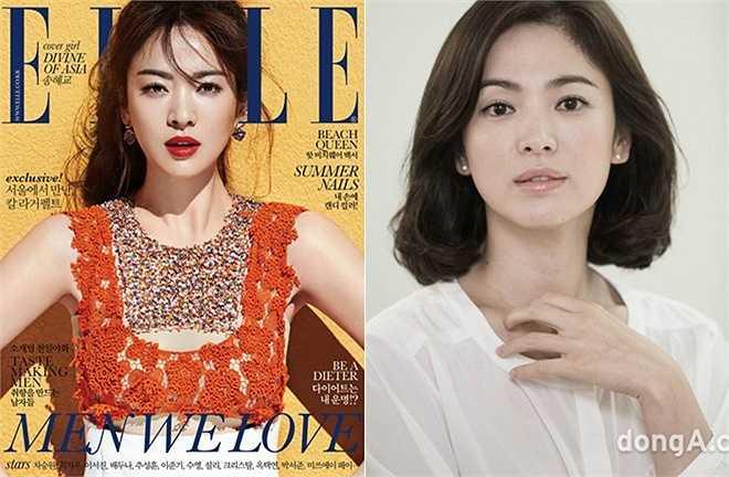 Là ngôi sao trang bìa của tạp chí Elle số tháng 6/2015, Song Hye Kyo xuất hiện với dung mạo khác thường. Phần xương hàm mặt vốn hiện khá rõ nay đã bị ê-kíp sửa thon gọn hơn. Phong cách trang điểm cũng khiến khán giả khó nhận ra kiều nữ Trái tim mùa thu. (Nguồn: Zing)