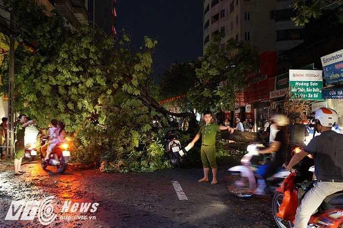Vào thời điểm 19h ngày 13/6, sau khi cơn giông khủng khiếp đi qua, hàng loạt con đường lớn đã bị tắc nghẽn do các cây cổ thụ bị bật gốc, đổ ngang giữa lòng đường.