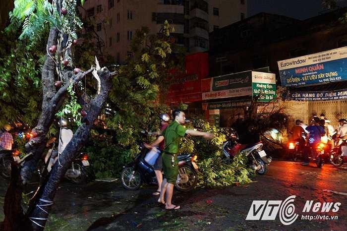 Toàn bộ đường Lạc Trung mất điện từ thời điểm 18h, khi cơn giông ập đến. Một cây cổ thụ đã bật gốc đổ ngang giữa đường khiến các phương tiện di chuyển hết sức khó khăn.