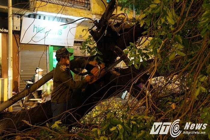 Để tránh gây ùn tắc, lực lượng quản lý đô thị đã nhanh chóng cưa cây để giải phóng con đường.