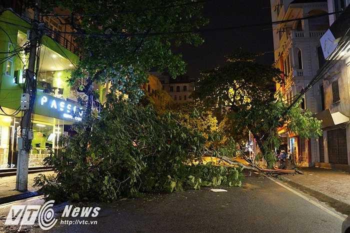 Người dân tại khu vực Bà Triệu cho biết, vào lúc 18h cơn giông bất ngờ kéo tới, thổi bay tất cả các vật trên đường, giật đổ hàng loạt các biển hiệu và cây xanh tại đây.