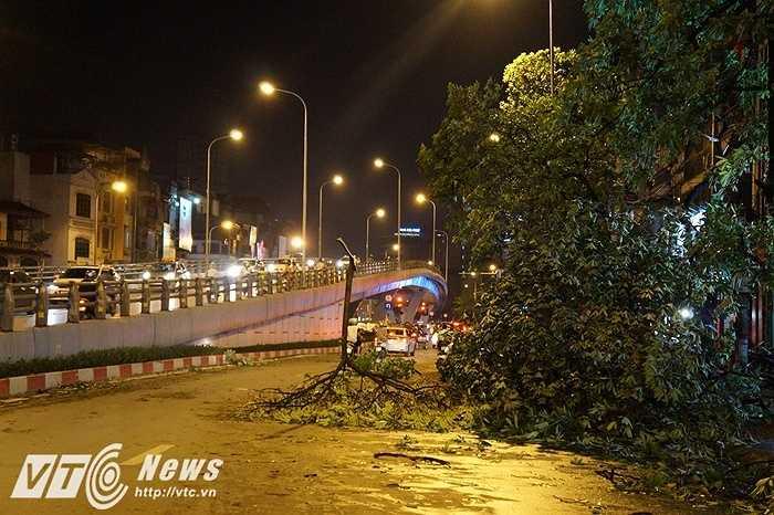 Những cành cây rơi giữa lòng đường khiến đường phố Hà Nội hoang tàn như vừa trải qua ngày tận thế.