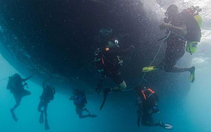 Các chuyên gia lặn hướng dẫn học viên làm việc dưới đáy biển