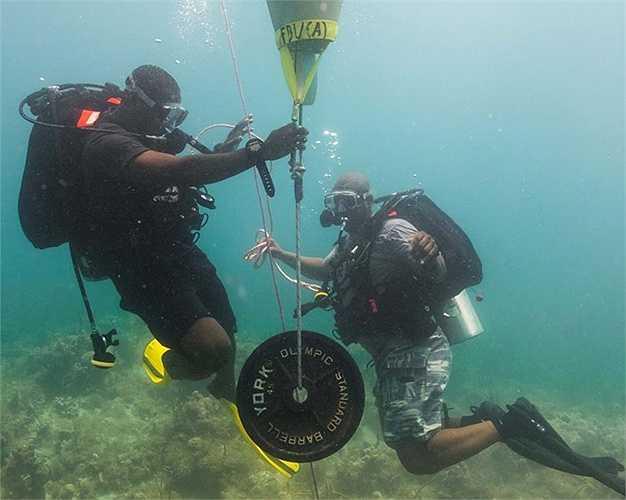 Dùng túi khí nâng vật từ đáy biển