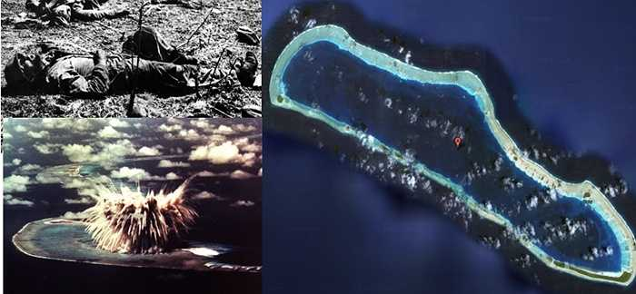 Đảo Enewetak Atoll. Số phận đen đủi của Enewetak Atoll xuất phát từ việc Quân đội Mỹ thử nghiệm các vũ khí nguyên tử có sức công phá khủng khiếp và thất bại khiến cho toàn bộ cảnh quan, môi trường xung quanh của nó bị nhiễm độc và trở thành địa ngục ngoài biển khơi