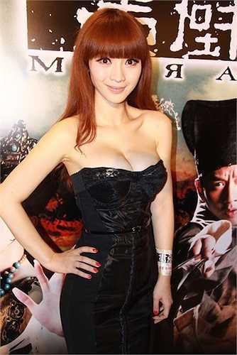 Liễu Nham bắt đầu nổi danh khi khoe vòng 1 'ngộp thở' trong buổi họp báo phim Họa bích tại Hong Kong năm 2011.
