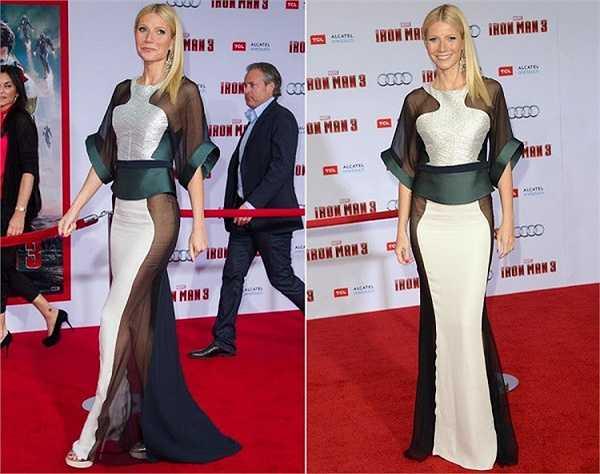 Gwyneth Paltrow để lộ vòng ba trong buổi chiếu ra mắt Iron Man 3.