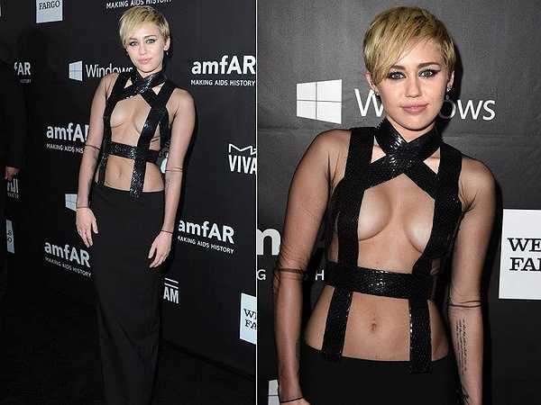 Miley Cyrus khiến người đối diện tưởng như cô dùng băng dính đen để che đi điểm nhạy cảm trong sự kiện amfAR Inspiration Gala.