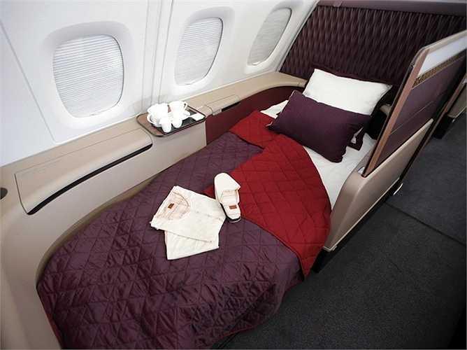 Khoang thương gia sang trọng bậc nhất của hãng hàng không Qatar Airways.