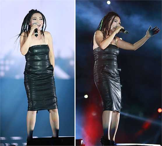 Thay vì đem lại vẻ gợi cảm, bộ đầm da dáng quây bó chặt đã 'tố cáo' thân hình tròn trịa của Phương Thanh trên sân khấu Lễ hội âm nhạc dã ngoại ngày 9/5. (Nguồn: Ngôi sao)