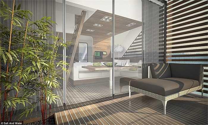 Những căn phòng bè gỗ này được điều khiển bằng chế độ di chuyển chậm trên mặt nước, tạo cho du khách không gian thư thái trên sông nước.