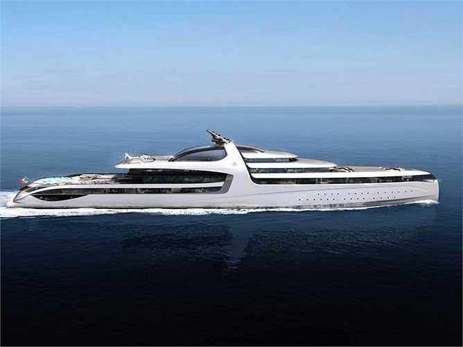 Chiều dài của chiếc siêu du thuyền bằng 1,5 chiề dài sân bóng đá
