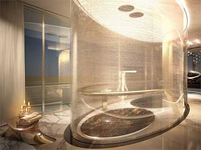 Phòng tắm rất sang trọng với kiểu thiết kế lạ, lát đá cẩm thạch