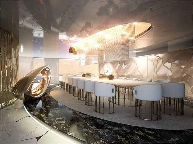 Phòng ăn rộng, đủ chỗ cho hàng chục người