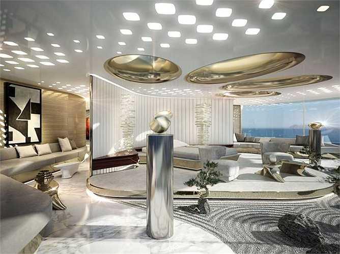 Phòng ngủ trên du thuyền với không gian thoáng, cửa kính nhìn ra biển