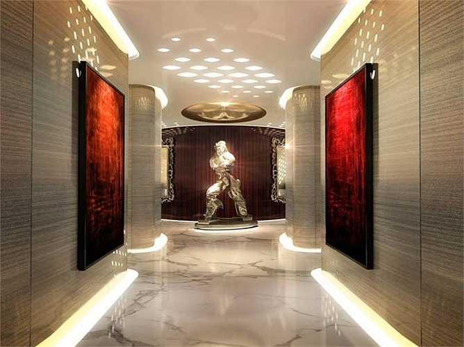 Sàn lát đá cẩm thạch cho cảm giác đang đi lại ở những hành lang trong khách sạn 5 sao